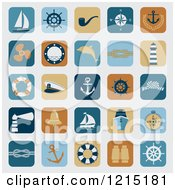 Clipart Of Nautical App Icons On Gray Royalty Free Vector Illustration by Eugene