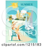 Clipart Of A Lady Holding Wine And Sitting On A Beach Under Summer Text Royalty Free Vector Illustration by Eugene