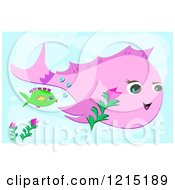 Pink Whale And Green Fish Underwater