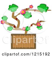 Clipart Of A Potted Bonsai Plant With Flowers Royalty Free Vector Illustration by bpearth