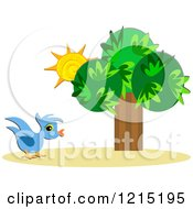 Clipart Of A Blue Bird By Sunshine And A Tree Royalty Free Vector Illustration by bpearth
