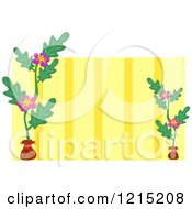 Potted Plant Floral Frame With Yellow Stripes