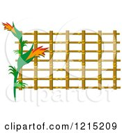 Clipart Of A Exotic Flowers Over Lattice Royalty Free Vector Illustration by bpearth