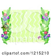 Clipart Of A Toucan Bird And Floral Frame Over Green Zig Zags Royalty Free Vector Illustration by bpearth