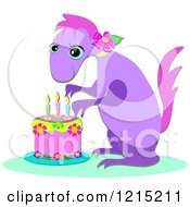 Clipart Of A Cute Dinosaur And A Birthday Cake Royalty Free Vector Illustration by bpearth