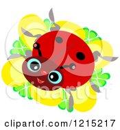 Happy Ladybug On A Yellow Flower
