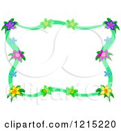 Colorful Floral Frame With Green Ribbons
