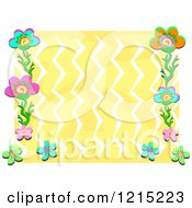 Colorful Floral Frame Around Yellow Zig Zags