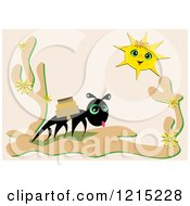 Clipart Of A Tired Ant Carrying Packages In The Desert Under A Sun Royalty Free Vector Illustration by bpearth