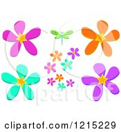 Dragonfly And Colorful Flowers