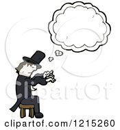 Cartoon Of A Magician Thinking Royalty Free Vector Illustration