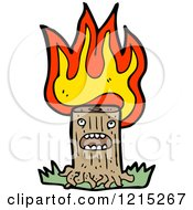 Cartoon Of A Flaming Tree Stump Royalty Free Vector Illustration by lineartestpilot