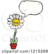 Cartoon Of A Speaking Daisy Royalty Free Vector Illustration by lineartestpilot