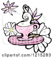 Cartoon Of A Foamy Drink And Cookies Royalty Free Vector Illustration by lineartestpilot