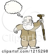 Cartoon Of An Old Man Thinking Royalty Free Vector Illustration