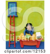 3d Businesswoman Sitting At Her Desk By A Corporate Ladder