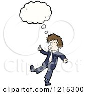 Cartoon Of A Man Whistling And Thinking Royalty Free Vector Illustration