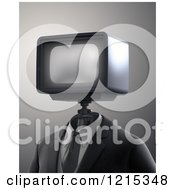 Clipart Of A 3d Robot With A Tv Head Royalty Free Illustration by Mopic