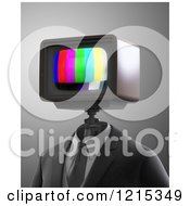 Clipart Of A 3d Robot With A Broadcast Test Tv Head Royalty Free Illustration by Mopic