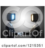 Clipart Of 3d Businessmen With Monitor Heads Shaking Hands Royalty Free Illustration by Mopic