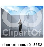 Clipart Of A 3d Businessman In An Empty Room With A Ladder Leading To Opportunity Royalty Free Illustration
