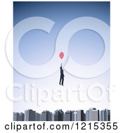 Clipart Of A 3d Businessman Floating With A Balloon Over A City Skyline Royalty Free Illustration