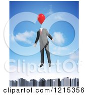 Clipart Of A 3d Businessman Floating With A Balloon Head Over A City Royalty Free Illustration