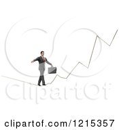 Clipart Of A 3d Businessman Walking A Graph Tight Rope On White Royalty Free Illustration