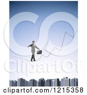 Clipart Of A 3d Businessman Walking A Graph Tight Rope Over A City Royalty Free Illustration by Mopic