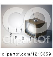 Clipart Of A 3d Box Television And Tiny People Royalty Free Illustration by Mopic