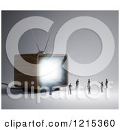 Clipart Of A 3d Box Television Shining Light On Tiny People Royalty Free Illustration