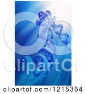 Clipart Of A 3d Dna Strand Model In Blue Light Rays Royalty Free Illustration