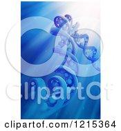 3d Dna Strand Model In Blue Light Rays