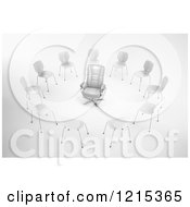 Clipart Of A 3d Red Leather Chair In A Circle Of Chairs Royalty Free Illustration by Mopic