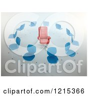 Clipart Of A 3d Red Leather Chair In A Circle Of Blue Chairs Royalty Free Illustration by Mopic