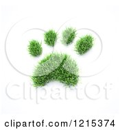 Clipart Of A 3d Grass Pet Paw Print Royalty Free Illustration by Mopic