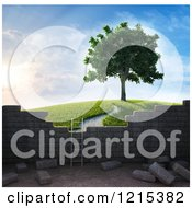 Clipart Of A 3d Ladder Against A Brick Wall With A View Of A Tree On A Hill Royalty Free Illustration by Mopic