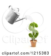 Clipart Of A 3d Watering Can Pouring Over A Dollar Symbol Investment Plant Royalty Free Illustration