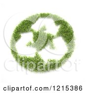 Clipart Of A 3d Grass Recycle Circle With Arrows Royalty Free Illustration