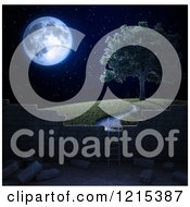 Clipart Of A 3d Ladder Against A Brick Wall With A View Of A Tree On A Hill At Night Royalty Free Illustration by Mopic