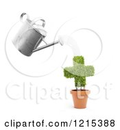 Clipart Of A 3d Watering Can Pouring Over A Cross Plant Royalty Free Illustration by Mopic