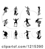 Clipart Of Black Silhouetted Skateboarders 3 Royalty Free Vector Illustration by AtStockIllustration