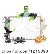 Clipart Of A Happy Witch Skeleton And Frankenstein Pointing To A White Board Sign Over Pumpkins And Black Cats Royalty Free Vector Illustration by AtStockIllustration