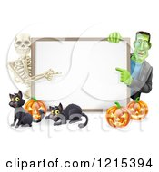 Clipart Of A Happy Skeleton And Frankenstein Pointing To A White Board Sign Over Pumpkins And Black Cats Royalty Free Vector Illustration by AtStockIllustration
