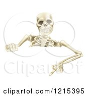 Clipart Of A Happy Human Skeleton Pointing Down To A Halloween Sign Royalty Free Vector Illustration