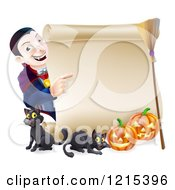 Clipart Of A Happy Halloween Vampire Pointing To A Scroll Sign With Black Cats Pumpkins And A Broomstick Royalty Free Vector Illustration by AtStockIllustration