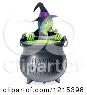 Clipart Of A Witch Behind A Boiling Happy Halloween Cauldron Royalty Free Vector Illustration by AtStockIllustration