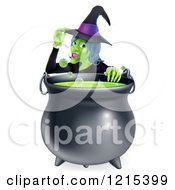 Clipart Of A Witch Touching Her Hat From Behind A Boiling Halloween Cauldron Royalty Free Vector Illustration by AtStockIllustration