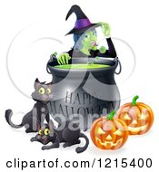 Clipart Of A Witch Behind A Boiling Happy Halloween Cauldron With Black Cats And Jackolanterns Royalty Free Vector Illustration by AtStockIllustration