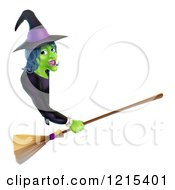 Clipart Of A Green Halloween Witch Holding A Broom And Pointing To A Sign Board Royalty Free Vector Illustration by AtStockIllustration